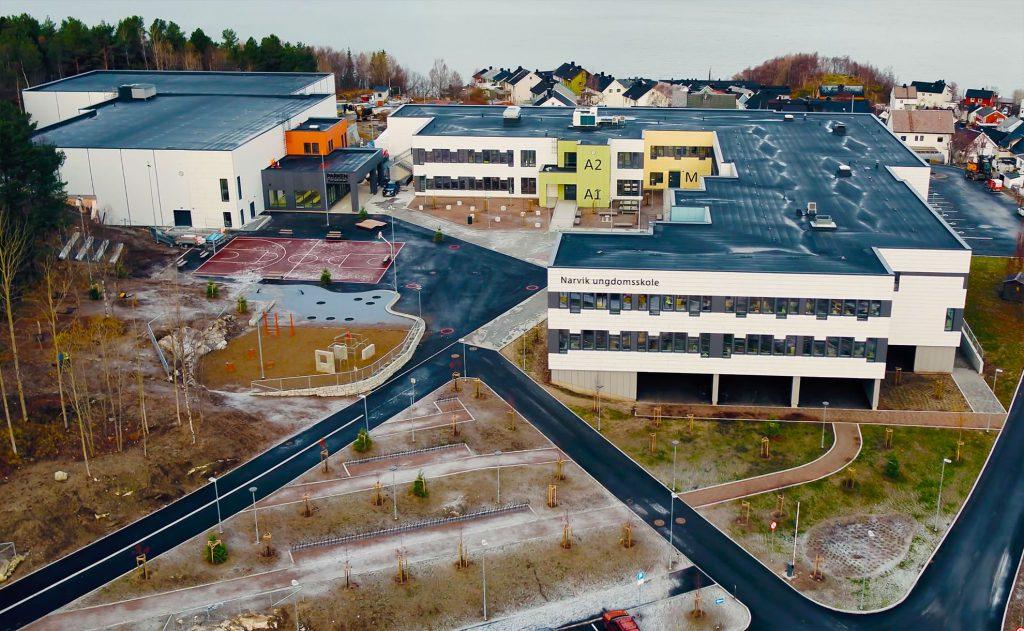 Oversiktsbilde av nye Narvik Ungdomsskole.
