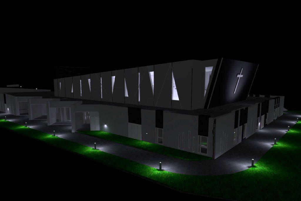 Orneshaugen forsamlingshus i Narvik er tegnet av UNO design og arkitektur og bygd i betong av Total Betong