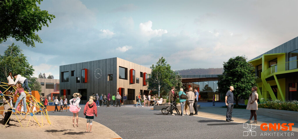 Gnist Arkitekter fikk sammen Rambøll AS oppdraget med å tegnet skisseprosjektet og forprosjektet til nye Tverlandet skole.